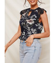 yoins camiseta con estampado floral al azar cuello blusa sin mangas