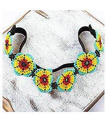 beaded headband, 'mexican sunrise' (mexico)