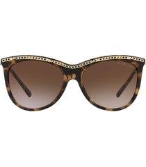 women's michael kors 55mm chain link square sunglasses - dark tort