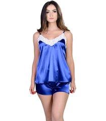 short doll  yasmin lingerie silk satin azul/bic - azul - feminino - dafiti