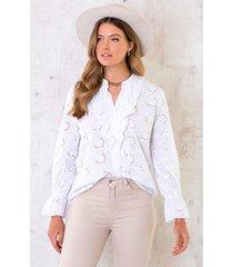 katoenen embroidery blouse wit