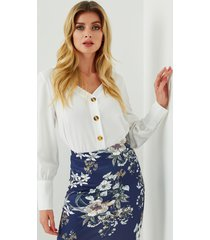 yoins blusa blanca de manga larga con cuello en v