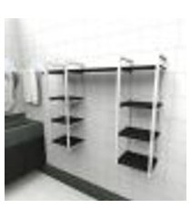 prateleira industrial banheiro aço cor branco 120x30x98cm (c)x(l)x(a) cor mdf preto modelo ind52pb