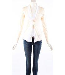 brunello cucinelli cream white cashmere silk cardigan sweater cream/white sz: s