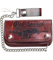 lucky 13 old speed embossed skull chopper bike chain motorcycle tattoo wallet