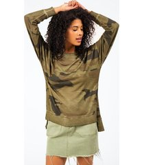 cheynne side slit camouflage top - dark olive