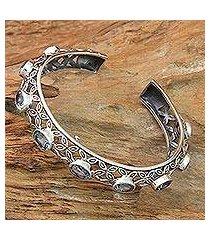 blue topaz cuff bracelet, 'java kawung' (indonesia)