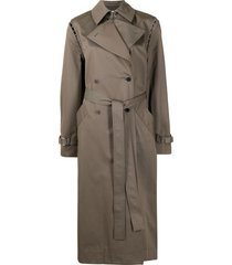 dion lee convertible long trench coat - green