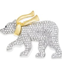 charter club two-tone pave polar bear with scarf pin, created for macy's