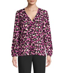 trina turk women's v-neck abstract print blouse - purple multi - size xs