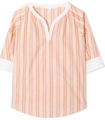chloé rayure pink cotton blouse