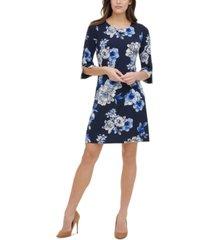 tommy hilfiger petite floral-print grommet-sleeve dress