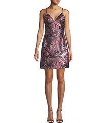 jacquard v-neck mini dress