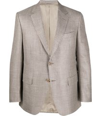 canali woven check blazer - neutrals