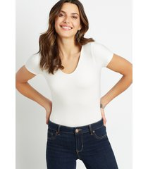 maurices womens 24/7 solid basic bodysuit white