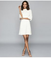 reiss cora - bell sleeve shift dress in ivory, womens, size 14