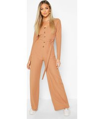 long sleeve horn button ribbed tie jumpsuit, camel