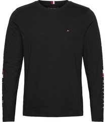 essential tommy ls tee t-shirts long-sleeved svart tommy hilfiger