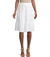 saks fifth avenue women's tiered linen long skirt - natural - size m