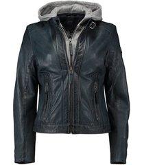 leren biker jas donkerblauw