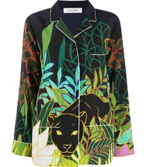 valentino mirrored orchid ramage print shirt - green