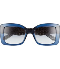 salvatore ferragamo classic 54mm gradient rectangular sunglasses - crystal blue/ blue gradient