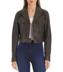 avec les filles cropped leather trucker jacket