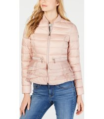 t tahari emily ruffled-hem packable puffer coat