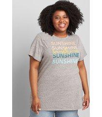 lane bryant women's sunshine graphic tee medium heather grey