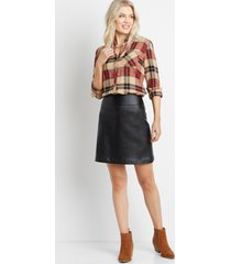 maurices womens black faux leather bengaline pull on skirt