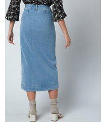 ganni women's comfort stretch denim skirt - denim - eu40/uk12