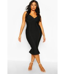 plus sculpting bandage fishtail midi dress, black