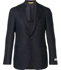 canali textured woven blazer - black