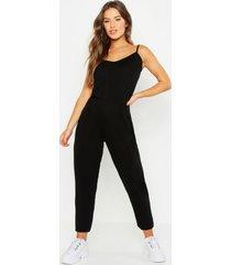 petite basic jumpsuit met bandjes, zwart