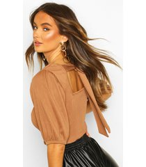 deep ribbed tie back volume puff sleeve top, camel