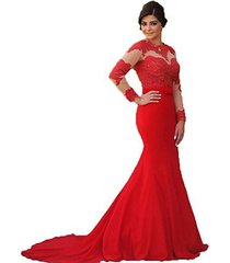 blevla high neck long sleeves lace prom dresses evening gowns red us 26 plus