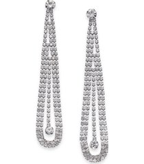 inc silver-tone crystal pendulum linear drop earrings, created for macy's