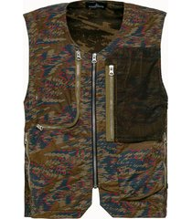 stone island shadow project gilet utility in cotone camouflage