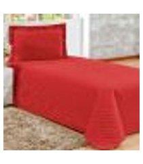 conjunto cobreleito solteiro com 1 fronha clean vermelho