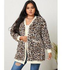 yoins plus talla leopardo dos bolsillos grandes cárdigan de manga larga