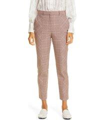 women's rebecca taylor directional plaid crop cotton blend trousers, size 4 - brown