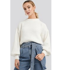 na-kd balloon sleeve round neck sweater - white