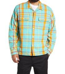 men's obey daniel plaid button-up flannel shirt, size small - blue