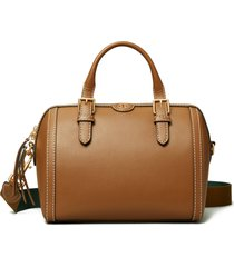 tory burch t monogram leather barrel shoulder bag - brown