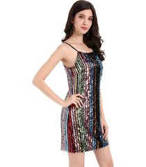 vestido lentejuelas rayas multicolor nicopoly
