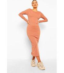 geribbelde midaxi jurk met uitgesneden rug en strik, camel