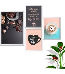 kit conjunto 4 quadro oppen house s frases comece com café lojas cafeteria xícaras grãos moldura branca decorativo interiores sem vidro
