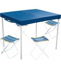 mesa compacta prática mor com 4 banquetas tipo maleta