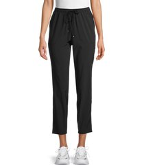 max studio women's cropped drawstring pants - black - size m