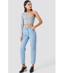chloé b x na-kd cropped denim pants - blue